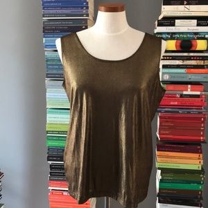 NWT Chico's Travelers Liquid Shimmer Gold Tank Top